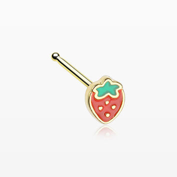 Golden Adorable Strawberry Nose Stud Ring
