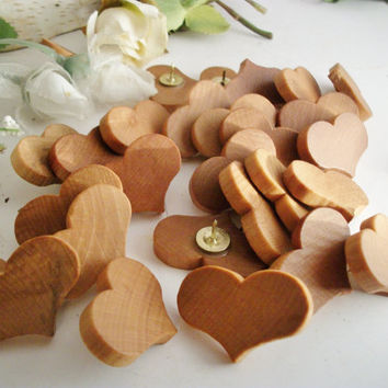 60 Wooden Heart Thumb Tacks/Push Pins Maple Wood  for Wedding Boards, Bulletin Message Boards,  Office Decor