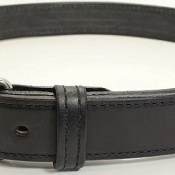 Black Stitched Bullhide Handcrafted Belt for Work, Casual, or Gun Carry - Lifetime Warranty