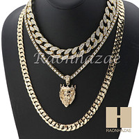 "14K GOLD PT KING LION ICED OUT MIAMI CUBAN 16""~30"" CHOKER TENNIS CHAIN S22"