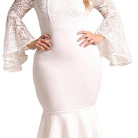 White Lace Bell Sleeve Mermaid Plus Size Bodycon Dress
