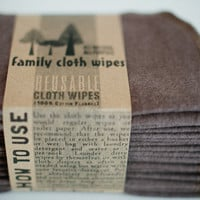Eco-Friendly   Cloth Wipes Diaper Bag Wipes - Bummy Wipes - Set of 20 - Gender Neutral - Solid Brown Double Layer