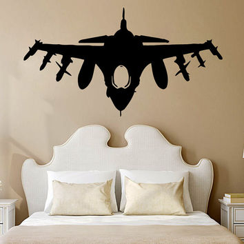 Wall Decals Plane Airplane Military Aircraft Vinyl Decal Sticker Home Art Mural Interior Design Boy Kids Nursery Baby Room Decor D937