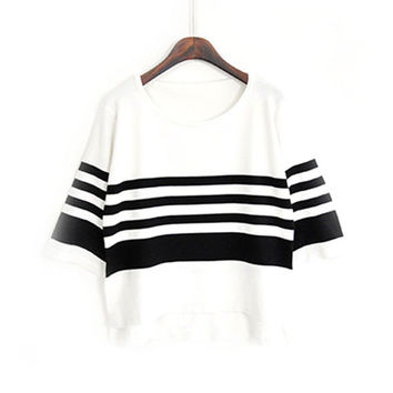 Pullover Knit Korean Women's Fashion Stripes Half-sleeve Tops [8422523905]