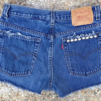"""Levi's destroyed and studded denim shorts made in USA size 10 MIS 30"""" waist (515 10 MIS) at whackytacky.com on etsy"""