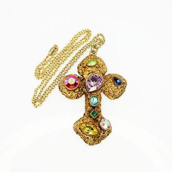 Faux Gold Nugget Cross Pendant and Gold Tone Chain, Multi Colored Rhinestones, Vintage 1970's Necklace
