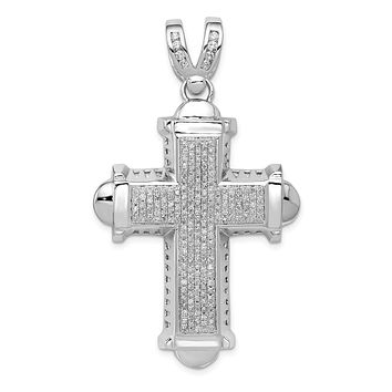 Men's 14k White Gold 7/8 Ctw Diamond Large Cross Pendant, 32 x 55mm