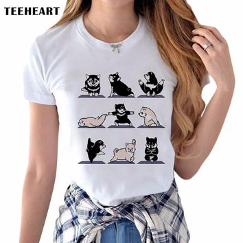 Newest Funny Animal Bodybuilding Design T-Shirt For Women Panda/Otter/Sloth/Pug Dog Printed T Shirt Summer Hipster Cool Tops Tee