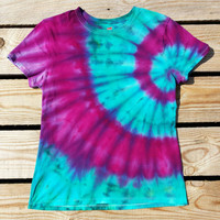 Women's Small Tie Dye Shirt,  Pink Turquoise and Purple,  Hippie  Shirt, Ready to Ship