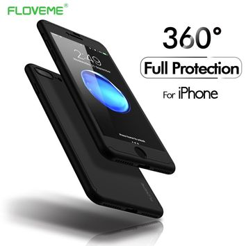 FLOVEME 360 Full Coverage Case For iPhone 6 6s 7 8 Plus iPhone X 5s 5 SE Tempered Glass Plastic Back Cover Accessories Capinha