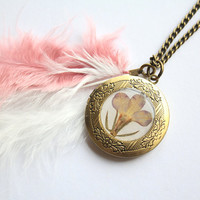 Rose Pink Lobelia Flower Preserved under Glass like Resin on a Vintage Bronze Locket with matching Marabou feathers