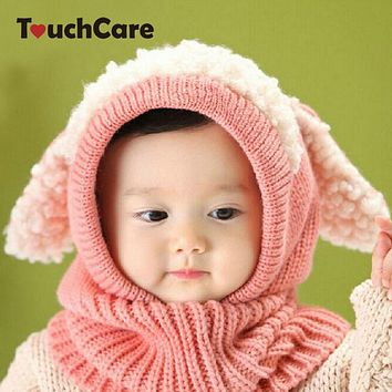 Baby Winter Hat Infant Rabbit Ears Knitted Caps Newborn Hooded Scarf Toddler Girl Boy Warm Beanie Kids Soft Ear-flap