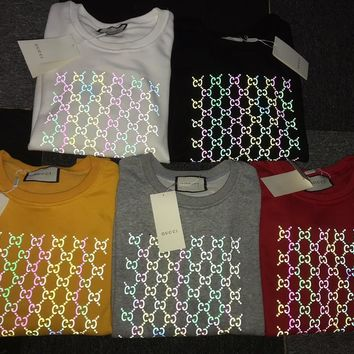HCXX 19Aug 337 Gucci 3D Stereo Reflective Colorful Printing Breathable Sweater Yellow