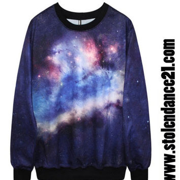 Women 3D Galaxy Crew Neck Top Cosmic Sweatshirt code100079