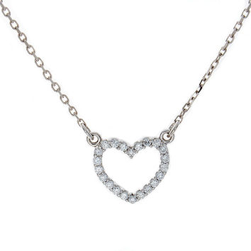 Diamond Heart Necklace, Valentines Day, 14K Gold, Love pendant, Jewelry