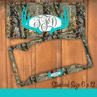 Aqua Camo Antlers Monogram License Plate Frame Holder Deer Metal Wall Sign Tags Personalized Custom Hunting Vanity Tree Camo Country