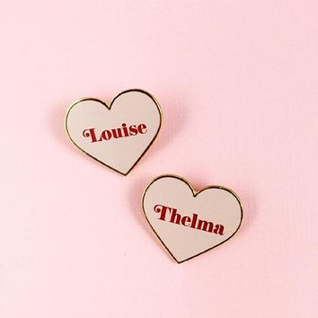 Thelma and Louise Heart Pin in Pink Blush