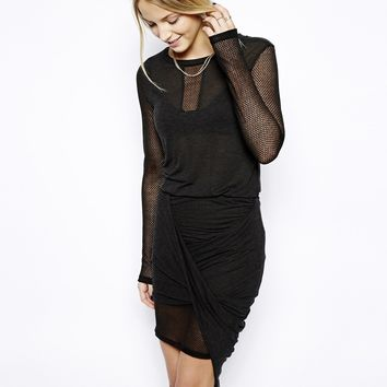 Love Zooey Long Sleeve Draped Dress with Mesh Insert