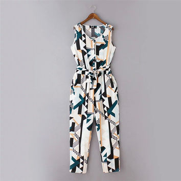 Women's Fashion Summer Pants V-neck Geometric Pattern Waistband Slim Jumpsuit [4918828356]