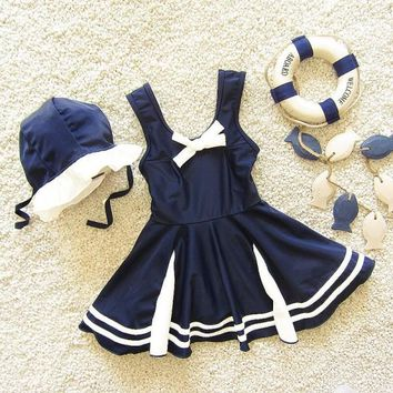 Childrens Swimsuit Cute New DHL  Fashion Baby Girls  Navy Sailor  + swimhat Princess Swimwear 2 Colors Children Bathing Suit KO_25_2