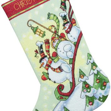 """Sledding Snowmen Stocking (14 Count) Dimensions Counted Cross Stitch Kit 16"""" Long"""