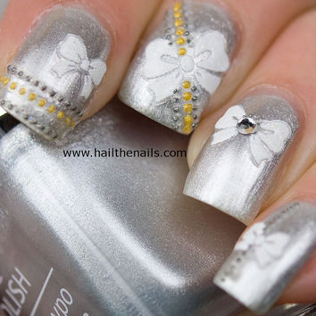 Nail Art Stickers Decals  White Bows inc Crystals by Hailthenails