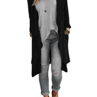 Long Sleeve Open Front Asymmetric Cardigan