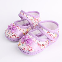 Girls Bow and Flowers Baby-Toddler Shoes