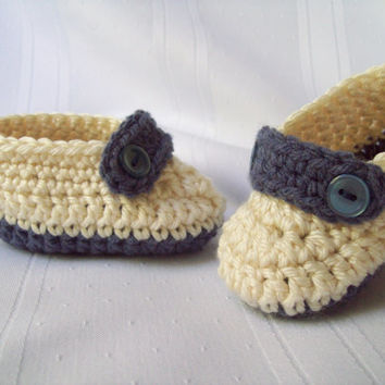 Crochet Baby Button Loafers, Tan and Steel Blue Heather, 6 to 9 Months
