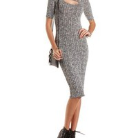 Charcoal Heather Ribbed Bodycon Midi Dress by Charlotte Russe
