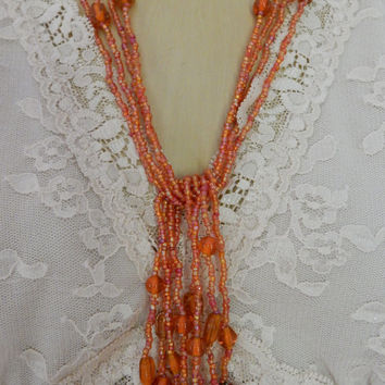 Italian Lariat Necklace Amber Art Bead Lariat Necklace Multi Strand Flapper Necklace French Actress Estate Jewelry