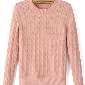 Pink Knitted Soft Cropped Sweater