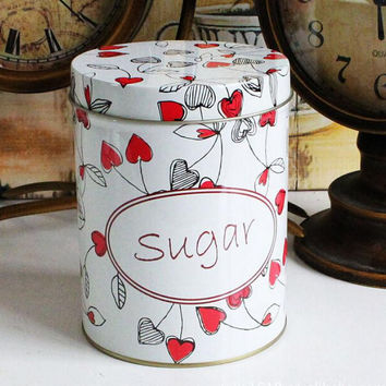 Retro Sugar White Red Heart Kitchen Coffee Tea Sugar Jar Tin Metal Home Decor Can