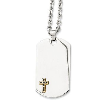 Stainless Steel 14k Yellow Gold Accent Sapphire Cross Dog Tag Necklace