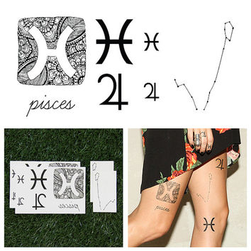Pisces - Temporary Tattoo (Set of 14)