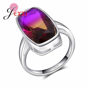 JEXXI Elegant Women 925 Sterling Silver Rings For Wedding Party Jewelry Big Purple Rainbow Austrian Crystal Engagement Anillos