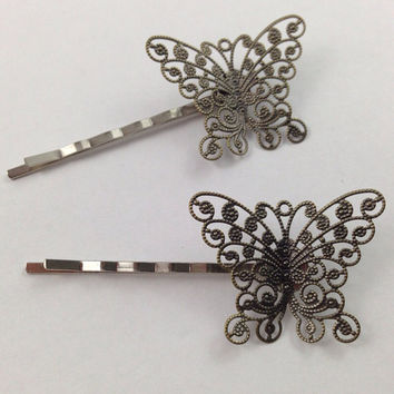 Antique Bronze Butterfly Bobby Pins Bobby Pin Set of by glamMKE