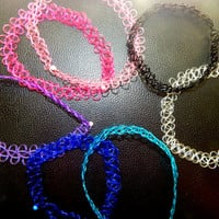90's RAINBOW TATTOO CHOKERS : Colorful Tattoo Chokers, 90's Grunge Chokers, Pink Tattoo Choker, Transparent Tattoo Choker