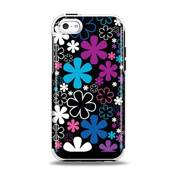 The Vibrant Pink & Blue Vector Floral Apple iPhone 5c Otterbox Symmetry Case Skin Set
