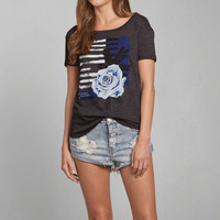 Floral Stripe Drapey Graphic Tee