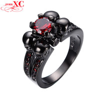 Red Sapphire Zircon Vintage Black Skull Ruby Jewelry Women/Men Ring Anel Aneis Black Gold Filled Rings for Halloween Gift RB0336
