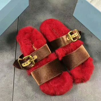 PRADA Rabbit Hair Casual Sandal Slipper Shoes Flip Red I-AGG-CZDL