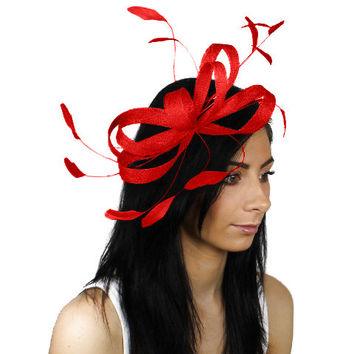 Sinamay Butterfly Red Fascinator Hat for Weddings, Races, and Special Events With Headband