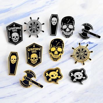 Trendy Miss Zoe Punk Skeleton Pirate Nautical Compass Ax Skull Coffin Enamel Pin Badge Brooch Women's Men Shirt Denim Jacket Pins AT_94_13