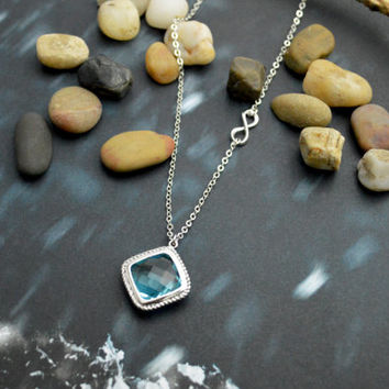 A-114 Aquamarine necklace, Infinity necklace, Sideways necklace, Modern necklace, Silver plated chain/Bridesmaid gifts/Everyday jewelry/