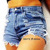 High Waisted Denim Jean Shorts - Shredded