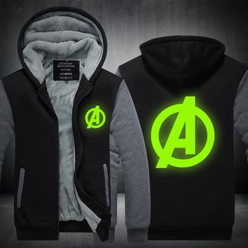 New Winter Jackets and Coats Captain America hoodie Luminous Hooded Fashion Thicken Zipper Men cardigan Sweatshirts Plus size