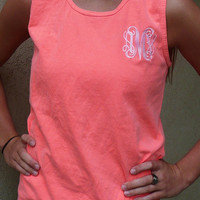 monogrammed tank top, personalized tank top, Comfort colors sleevless t shirt