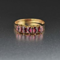 Five Stone Rhodolite Garnet Wedding Band Ring C.1881