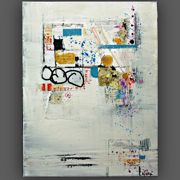Abstract art collage on Canvas - modern art decor 11x14 canvas wall art
